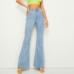 Light wash high waisted flare jeans